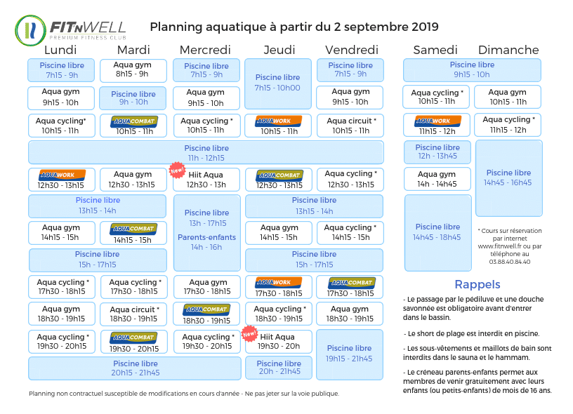 Planning Aquatique - 2 Septembre 2019